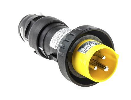 2P+E IP66 ATEX Approved Power Connector, Plug, 16A 120 V