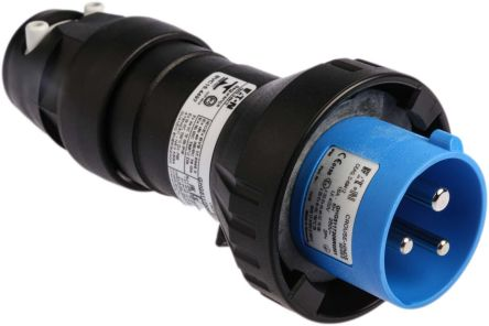 2P+E IP66 ATEX Approved Power Connector, Plug, 16A 240 V