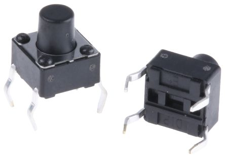 Black Button Tactile Switch, Single Pole Single Throw (SPST) 50 mA @ 12 V dc 3.5mm