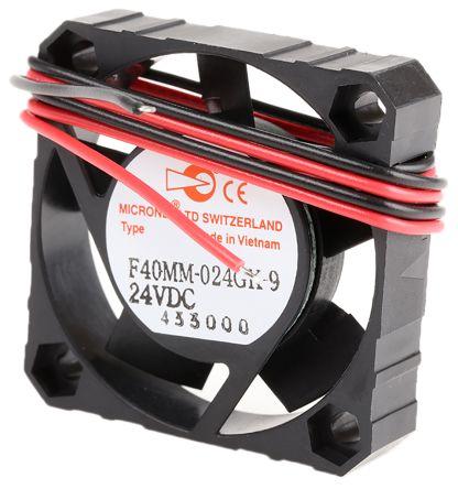 F40 Series Axial Fan, 40 x 40 x 10mm, 9.18m³/h, 900mW, 24 V dc product photo
