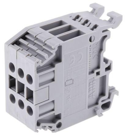 Entrelec Distribution Block, 4mm², 3 Way, 32A, 800 V, Grey