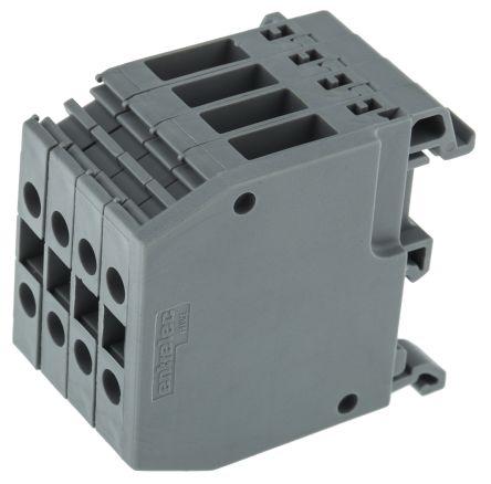 Entrelec Distribution Block, 4mm², 4 Way, 32A, 800 V, Grey