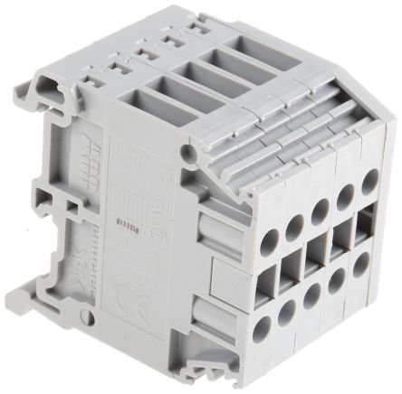 Entrelec Distribution Block, 4mm², 5 Way, 32A, 800 V, Grey