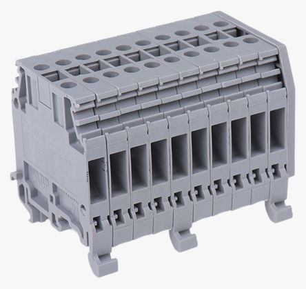 Entrelec Distribution Block, 4mm², 10 Way, 32A, 800 V, Grey