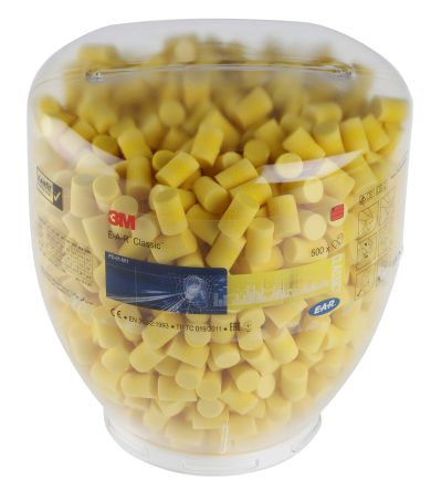 3M E.A.R Classic Uncorded Disposable Ear Plugs, 28dB, Yellow, 500 Pairs per Package