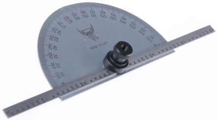 RS PRO Imperial Protractor, 180° Range, 6in Tempered Steel Blade
