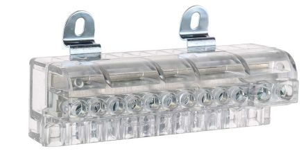 RS Pro 12 Way DIN rail Commoning Block, Screw Down Termination, 10 → 5 AWG, 16 mm², 6 mm² CSA, Clear, 100A