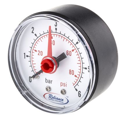 RS PRO GAGE250010 Analogue Positive Pressure Gauge Dial 6bar, Connection Size BSP 1/4