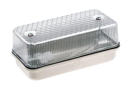 RS PRO, 100 W Rectangular GLS Bulkhead Light Wall Mount, Clear, 230 V ac, Aluminium, Plastic, IP64, with Clear Diffuser