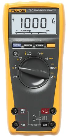 Fluke 179 Handheld Digital Multimeter, 10A ac 1000V ac 10A dc 1000V on