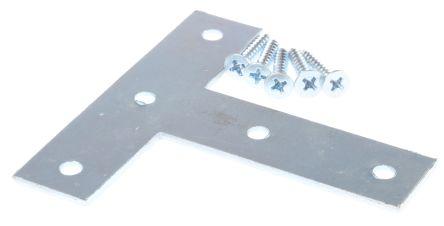 76 x 76mm Zinc Plated Steel Flat T Bracket, 19mm Thickness