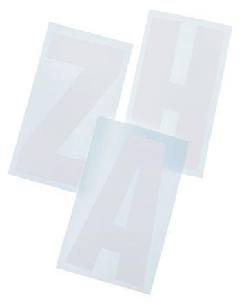 White die cut label,75mm high letters