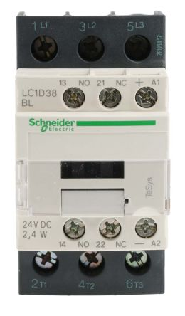 lc1d38bl schneider electric 3 pole contactor 38 a 24 v dc coil schneider electric main product