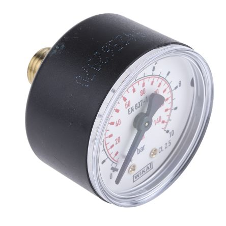 WIKA 7203493 Analogue Positive Pressure Gauge Back Entry 10bar, Connection Size R 1/4