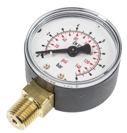 WIKA 7203556 Analogue Positive Pressure Gauge Bottom Entry 10bar, Connection Size R 1/4