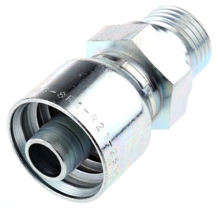 BSP 1/2 Male Straight Steel Crimped Hose Fitting, 275 bar product photo