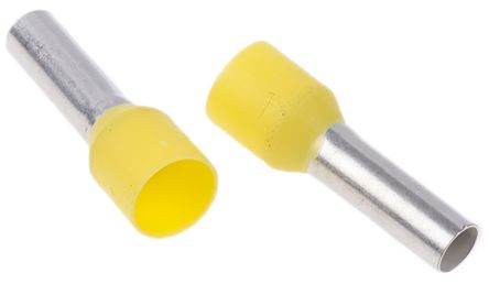 Insulated Crimp Bootlace Ferrule, 12mm Pin Length, 3.5mm Pin Diameter, 6mm² Wire Size, Yellow product photo