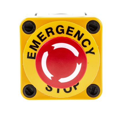 Apem, Red/Yellow/Grey, Twist to Reset 40mm Mushroom Head Emergency Button product photo