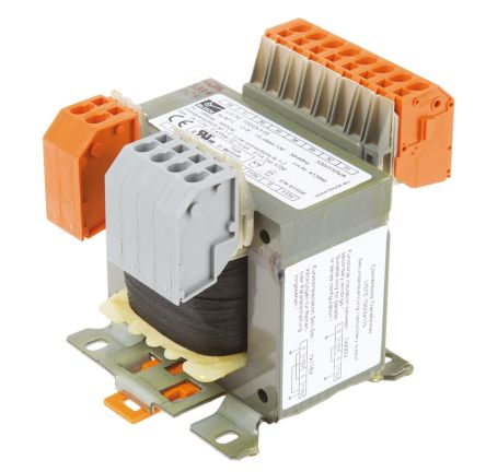 Block 100VA DIN Rail Panel Mount Transformer 208 to 600V ac Primary 2 x, 115V ac Secondary