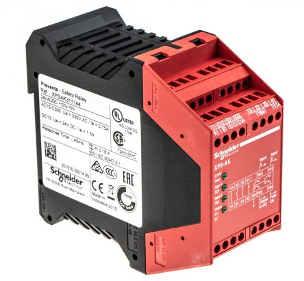 Schneider Electric XPS AK 24 V ac/dc Safety Relay Dual Channel With 3  Safety Contacts