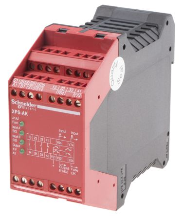 Schneider Electric XPS AK 230 V ac Safety Relay Dual Channel With 3 on