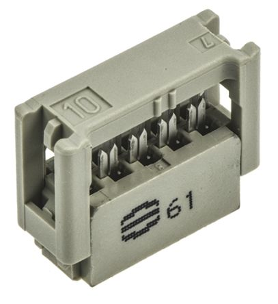 Harting SEK-18 Series 2.54mm Pitch Right Angle Cable Mount IDC Connector, Socket, 10 Way, 2 Row
