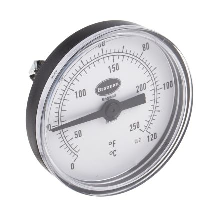 Dial Thermometer, Centigrade, Fahrenheit Scale, 0 → +120 °C, 66mm dia. Dial