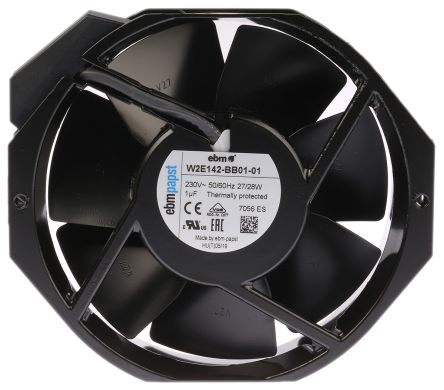 ebm-papst Axial Fan, 150 x 172 x 38mm, 391m³/h, 25W, 230 V ac (W2E142 Series)