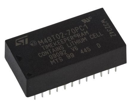 STMicroelectronics M48T02-70PC1 NVRAM, 16kbit, 5V 24-Pin PCDIP