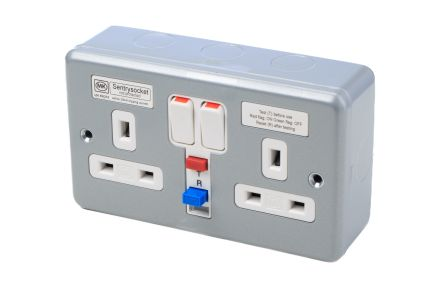 MK Electric 13A, BS Fixing, Active, 2 Gang RCD Socket, Steel, Surface Mount , Switched, 250V ac, Grey Matt