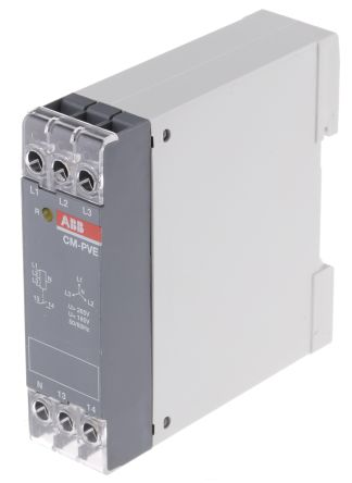 ABB Phase, Voltage Monitoring Relay with SPST Contacts, 1, 3 Phase, 185 → 265 V ac, 320 → 460 V ac