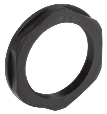 Black Fibreglass PA Cable Gland Locknut, PG29 Thread, IP68 product photo