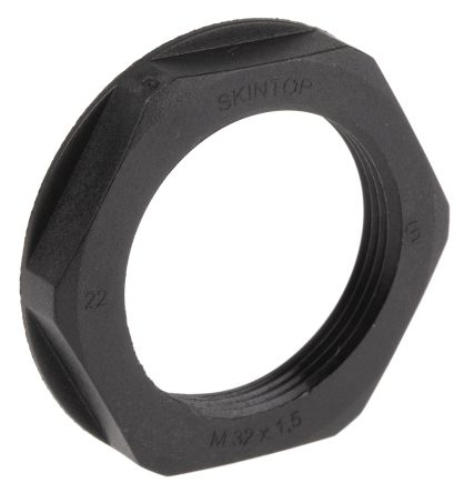 Black Fibreglass PA Cable Gland Locknut, M32 Thread, IP68 product photo
