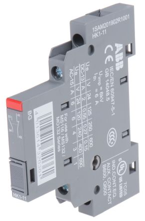 Side Mount Auxiliary Contact, NO/NC, 2 A dc, 6 A ac, 220 V dc, 400 V ac