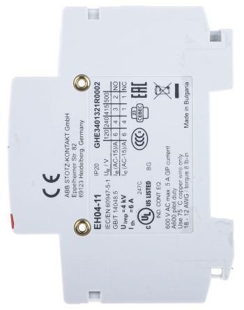 DIN Rail Mount Auxiliary Contact with Screw Terminal, NO/NC, 220 V dc, 400 V ac