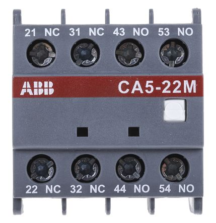 Front Mount Auxiliary Contact with Screw Terminal, 2NO/2NC, 6 A, 24 V dc, 230 V ac