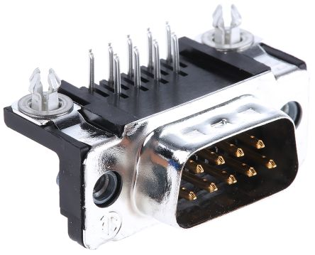 TE Connectivity Amplimite HD-20 Series, 9 Way Right Angle Through Hole PCB D-sub Connector Plug, 2.74mm Pitch, with