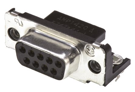 TE Connectivity Amplimite HD-20 Series, 9 Way Right Angle Through Hole PCB D-sub Connector Socket, 2.74mm Pitch, with