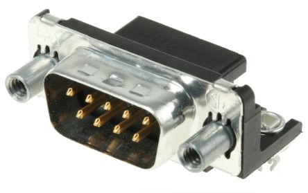 TE Connectivity Amplimite HD-20 9 Way Right Angle Through Hole D-sub Connector Plug, 2.74mm Pitch, with 4-40 UNC Female