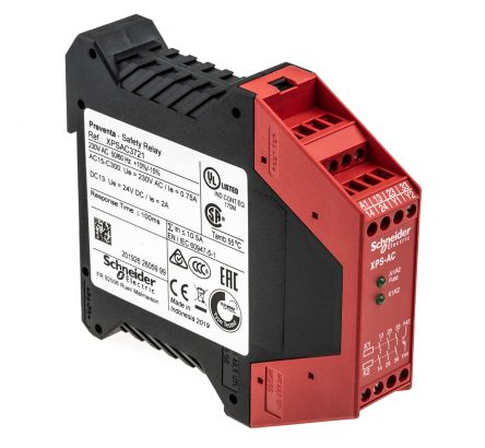 Schneider Electric XPS AC 230 V ac Safety Relay With 3 Safety Contacts