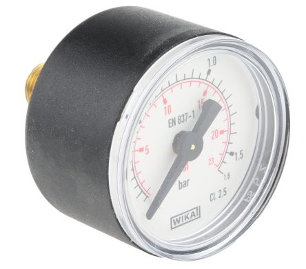WIKA 7833462 Analogue Positive Pressure Gauge Back Entry 1.6bar, Connection Size R 1/8