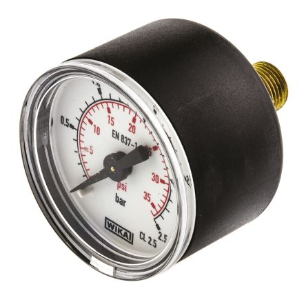 WIKA 7833500 Analogue Positive Pressure Gauge Back Entry 2.5bar, Connection Size R 1/8