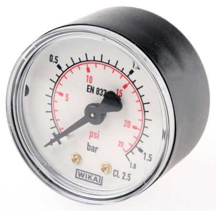 WIKA 7833586 Analogue Positive Pressure Gauge Back Entry 1.6bar, Connection Size R 1/8