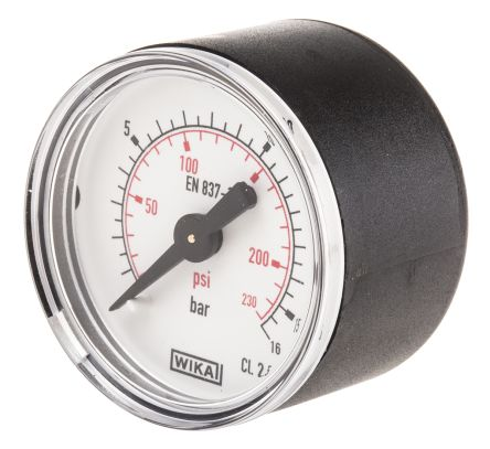 WIKA 7833526 Analogue Positive Pressure Gauge Back Entry 16bar, Connection Size R 1/8