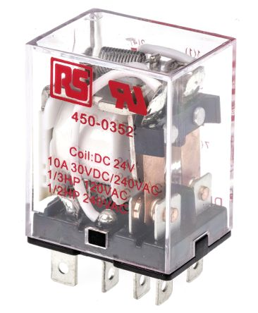 10 A General Purpose Relay In Many Styles 24v Dc Coil Rs Pro Dpdt Non-latching Relay Plug In
