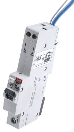 ABB 1+N Pole Type C Residual Current Circuit Breaker with Overload Protection, 6A DS271, 10 kA