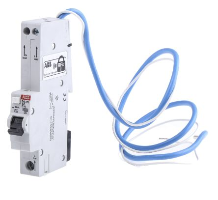 ABB 1+N Pole Type C Residual Current Circuit Breaker with Overload Protection, 16A DS271, 10 kA