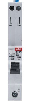 ABB 1+N Pole Type C Residual Current Circuit Breaker with Overload Protection, 20A DS271, 10 kA