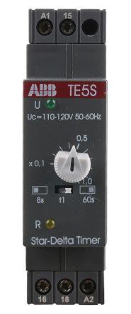 ABB Star Delta Single Timer Relay, Screw, 0.8 → 60 s, 110 → 120 V ac