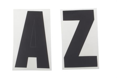 Black high letters die cut label,125mm